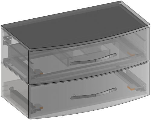 Cabinet for washbasin with the top hanging, two drawers, built-in organizer in upper drawer