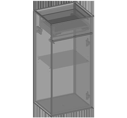 Półsłupek wiszący jedne drzwi, jedna szuflada, półki szklane