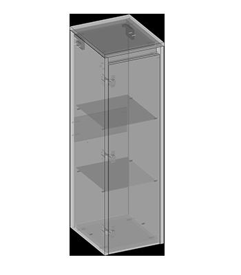 Hanging semi-pillar one door, glass shelves