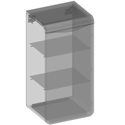 Półsłupek wiszący jedne drzwi, półki szklane