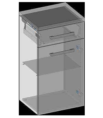 Hanging semi-pillar one door, one drawer, glass shelf