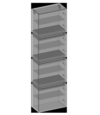 Hanging pillar four doors, three drawers, glass shelves