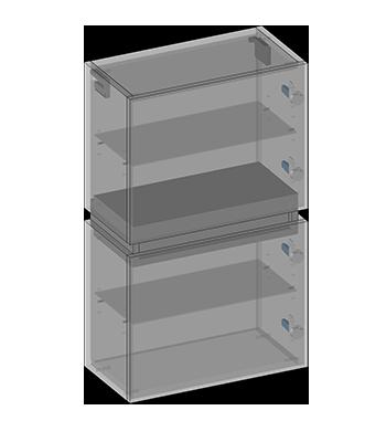 Słupek wiszący dwoje drzwi, jedna szuflada, półki szklane