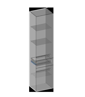 Hanging pillar two doors, one drawer, glass shelves