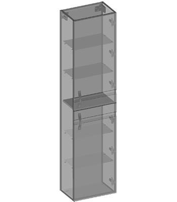 Hängehochschrank 2 Türen, Glaseinlegeböden