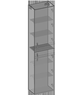 Słupek wiszący dwoje drzwi, półki szklane