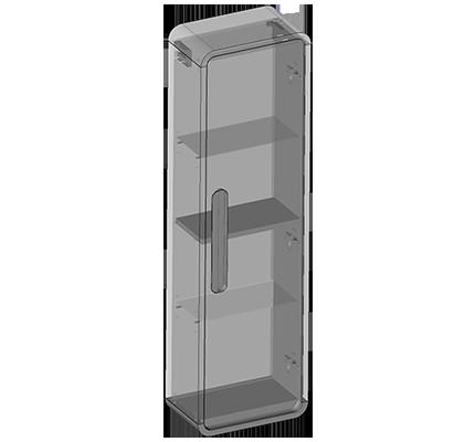 Słupek wiszący jedne drzwi, półki szklane