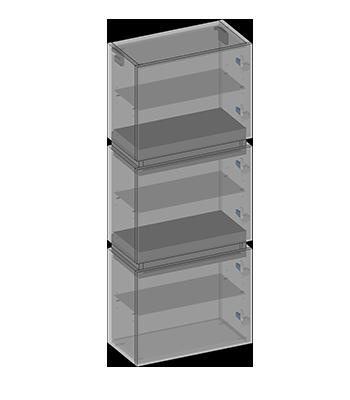 Hanging pillar three doors, two drawers, glass shelves