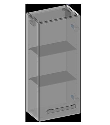 Hanging cabinet one door, glass shelves