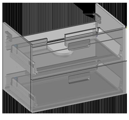 Szafka pod umywalkę Atria wisząca, dwie szuflady, wbudowany organizer w górnej szufladzie