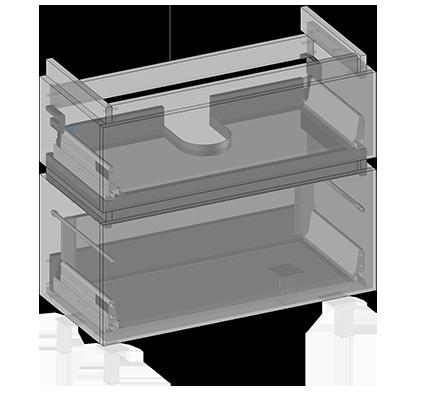 Waschbeckenunterschrank zu Lyra (zum Stellen) 2 Schubladen, Oganizer in obere Schublade eingebaut