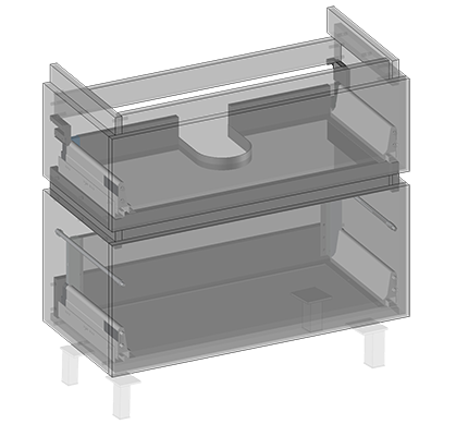 Szafka pod umywalkę Lyra (do postawienia) dwie szuflady, wbudowany organizer w górnej szufladzie