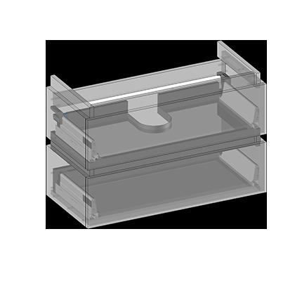Waschbeckenunterschrank zu Lyra hängend, 2 Schubladen, Oganizer in obere Schublade eingebaut