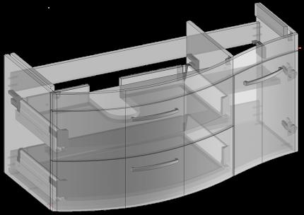Waschbeckenunterschrank zu Vena hängend, 2 Schubladen, 1 Tür, Oganizer in obere Schublade eingebaut