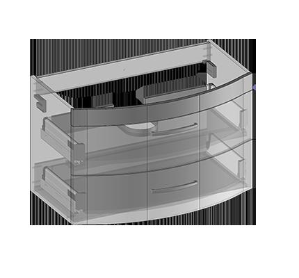 Waschbeckenunterschrank zu Vena hängend, 2 Schubladen, Oganizer in obere Schublade eingebaut