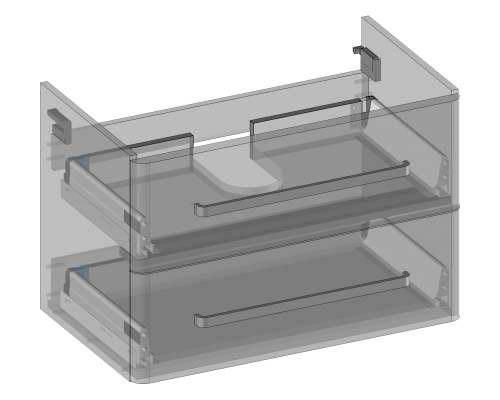 Waschbeckenunterschrank zu Karin hängend, 2 Schubladen, Oganizer in obere Schublade eingebaut