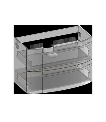 Waschbeckenunterschrank zu Frida hängend, 2 Schubladen, Oganizer in obere Schublade eingebaut