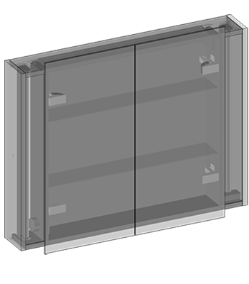 Hanging cabinet with double mirrors two doors, glass shelves, Fluorescent lighting 2x18W, socket, motion sensor