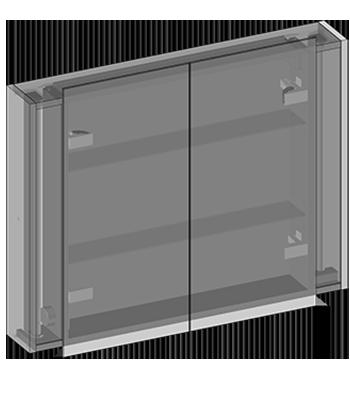 Szafka wisząca dwoje drzwi, półki szklane, dwustronne lustra, oświetlenie jarzeniowe 2x18W, gniazdo, czujnik ruchu