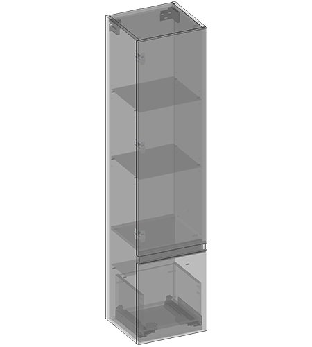 Hanging pillar one door, one drawer, glass shelves