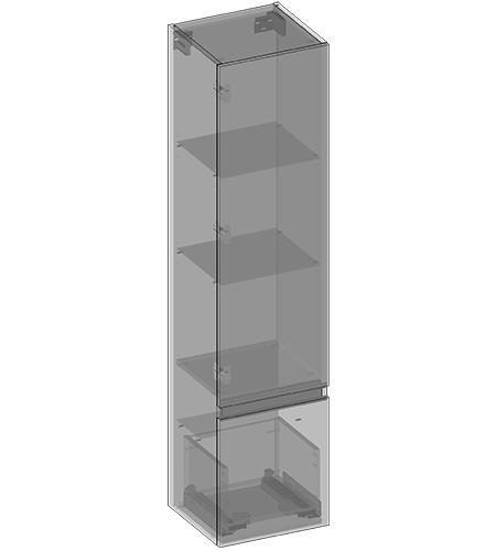 Słupek wiszący jedne drzwi, jedna szuflada, półki szklane