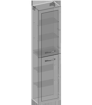 Hanging pillar two doors, glass shelves