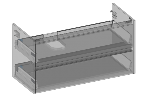 Cabinet for washbasin Isik hanging, two drawers, built-in organizer in upper drawer