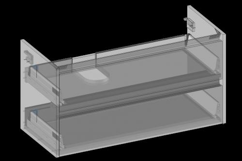 Szafka pod umywalkę Isik wisząca, dwie szuflady, wbudowany organizer w górnej szufladzie