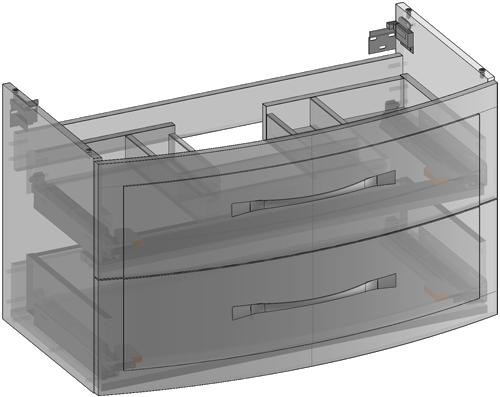 Szafka pod umywalkę wisząca, dwie szuflady, wbudowany organizer w górnej szufladzie