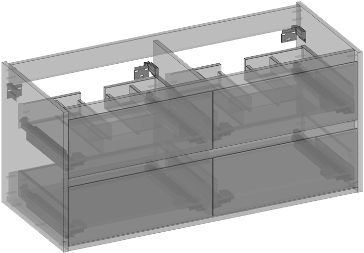 Cabinet for washbasin hanging, four drawers, built-in organizer in upper drawers