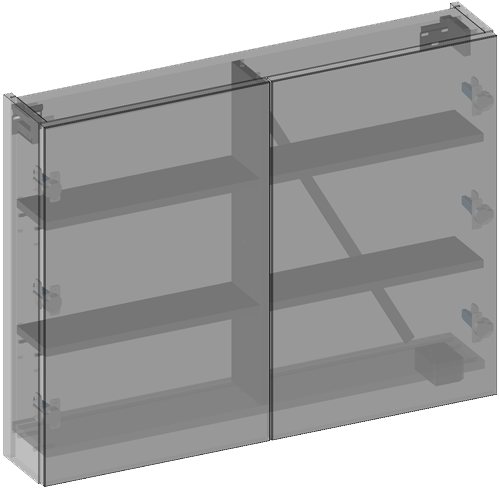 Hanging cabinet with mirrors two doors, socket 230 V