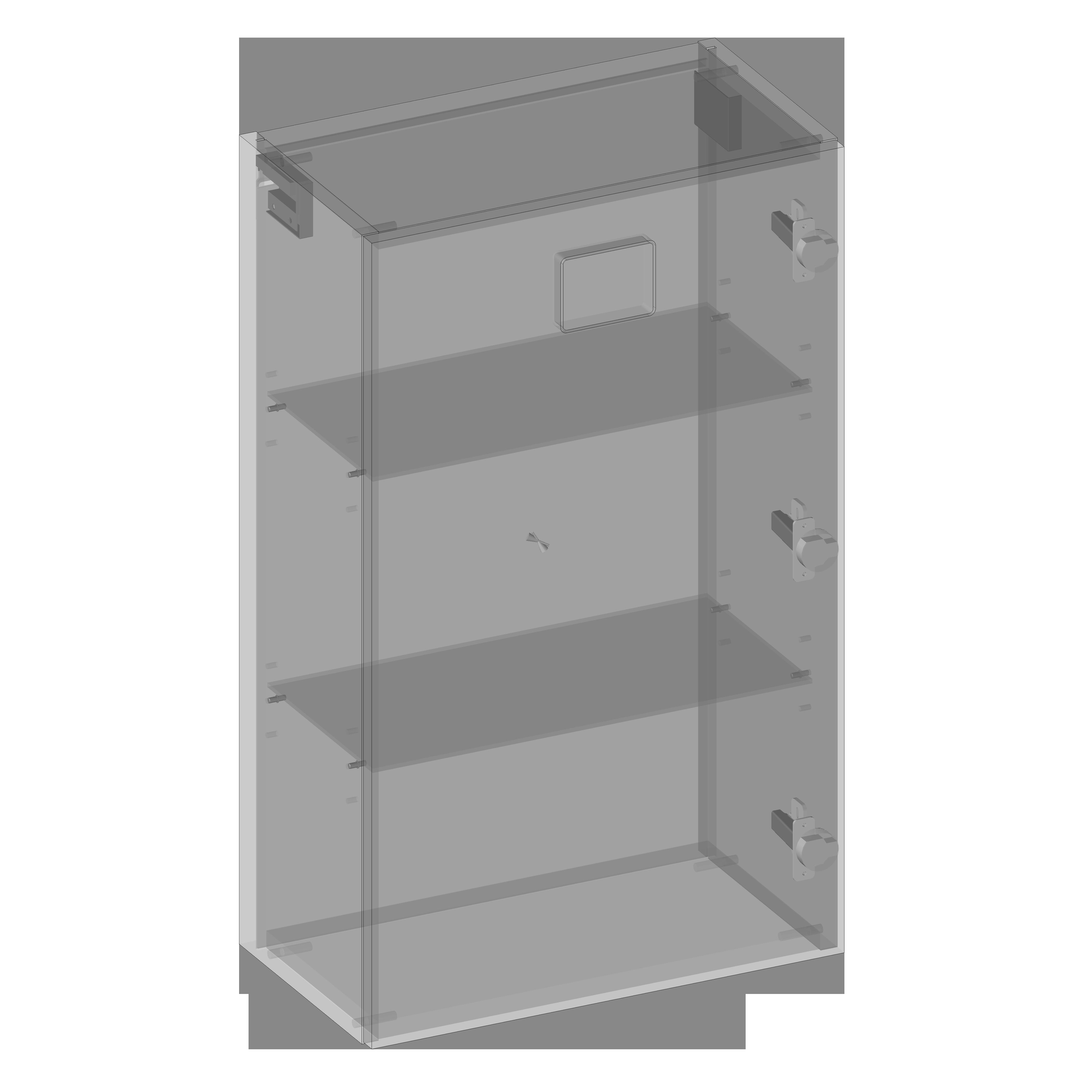 Hanging pillar lower one door, glass shelves